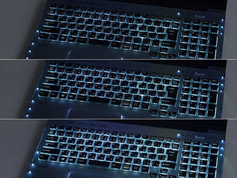 キーボードに手を近づけると徐々に明るくなるキーボードバックライト。輝度を調節することも可能