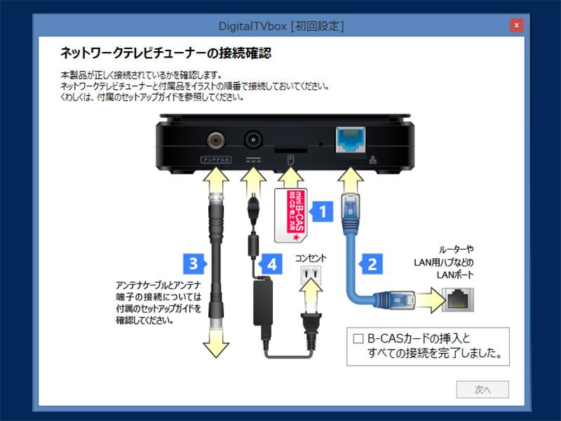 「DigitalTVbox」の起動時にも接続の仕方を丁寧に図解してくれるので安心